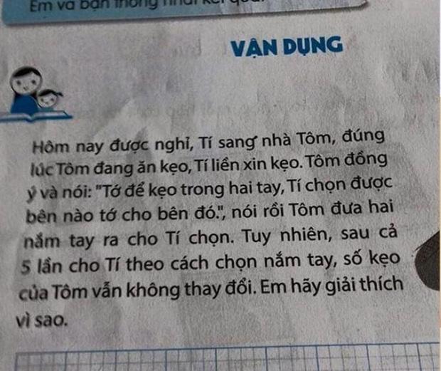Toán lớp 3: Kẹo nằm ở 1 trong 2 tay Tôm, nhưng Tí chọn 5 lần không trúng, lời giải gây bất ngờ - Ảnh 1.