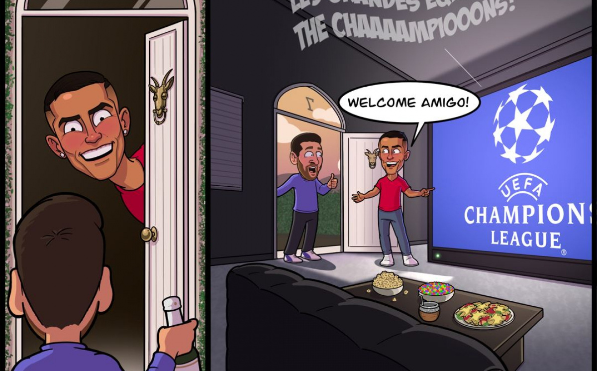 Biếm họa 24h: Ronaldo mời Messi đến nhà... xem bán kết Champions League