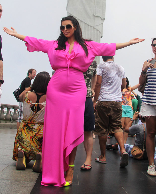Kim Kardashian in a pink dress