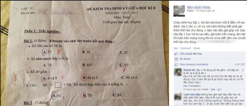 Bài kiểm tra toán lớp 1 gây tranh cãi trên Facebook