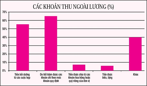 Biểu đồ các khoản thu ngoài lương của CBCC - viên chức do Thanh tra Chính phủ khảo sát .