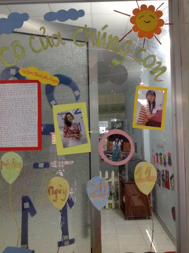 Hình ảnh đẹp về các cô giáo trên tường của lớp học.