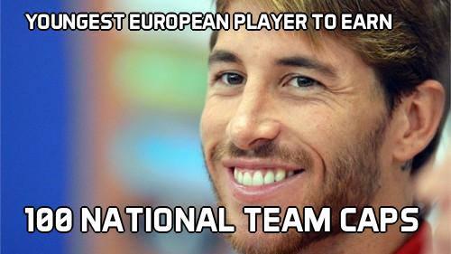 Ramos - cầu thủ trẻ nhất châu Âu đạt cột mốc 100 trận cho ĐTQG