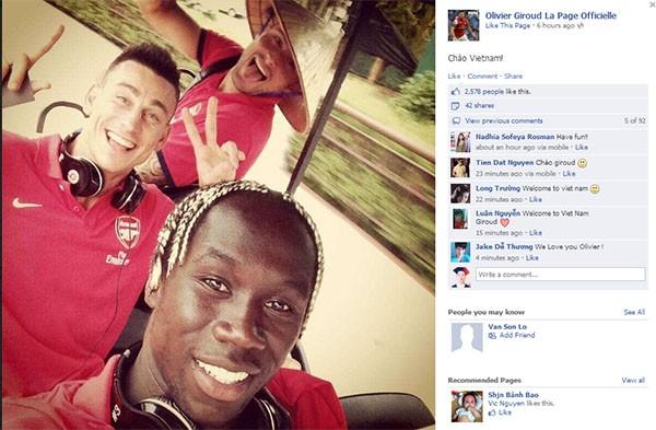 Giroud chia sẻ bức ảnh với 1 chú thích bằng tiếng Việt