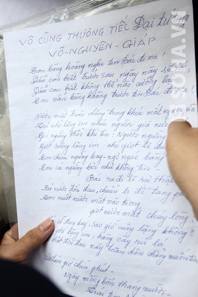 Bài thơ nữ quân nhân sáng tác ngay đêm nghe tin Đại tướng mất