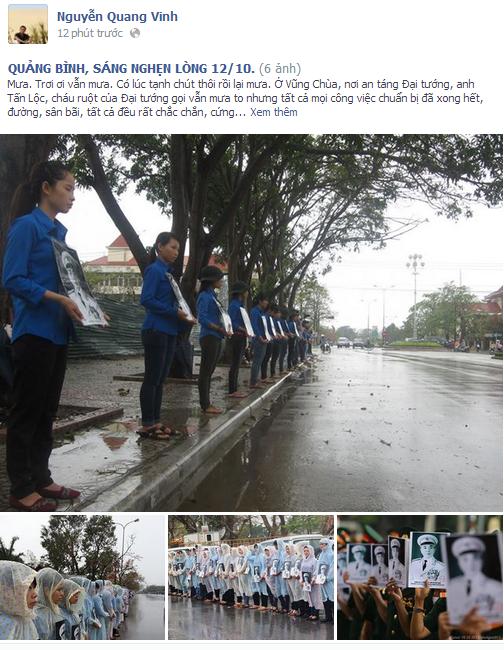 Những dòng chia sẻ xúc động của nhà văn Nguyễn Quang Vinh trên trang cá nhân