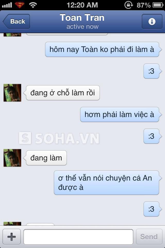 Tin nhắn được chia sẻ trên facebook An Nguy.