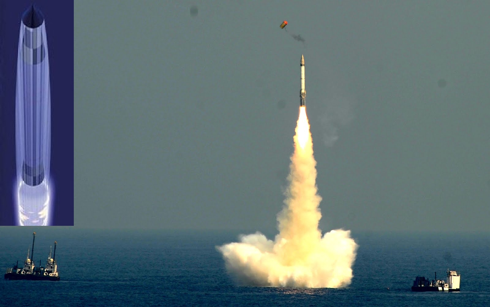 Tên lửa phóng từ tàu ngầm chuyển động dưới nước trong luồng khí bao (ảnh nhỏ) và tầng tạo khí tách ra (ảnh lớn)