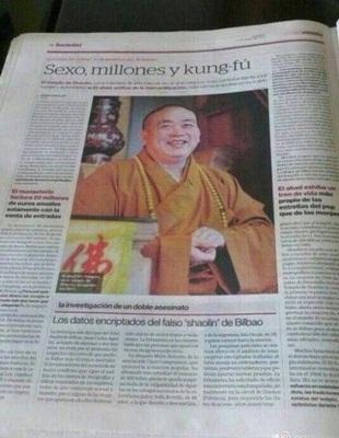 Bài báo đăng trên tờ Elperiodico của Tây Ban Nha về trụ trì Thiếu Lâm Tự