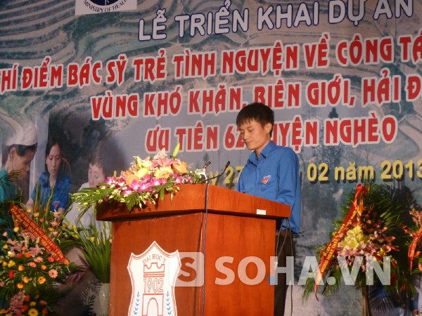 Sinh viên Đặng Hoàng Thạch (Y6, ĐH Y Hà Nội) đăng ký tham gia dự án bác sỹ trẻ tình nguyện vè công tác tại vùng khó khăn, biên giới.