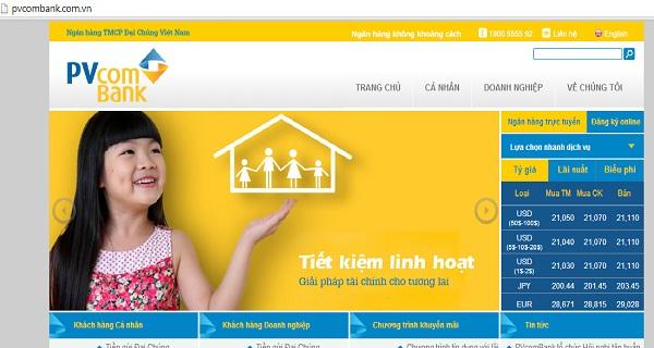 Website của ngân hàng PVcombank.