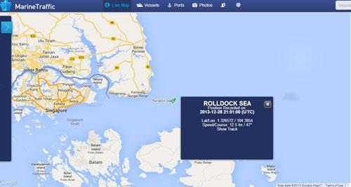 Vị trí tàu Rolldock Sea vào lúc 4 giờ 51 phút sáng 29/12/2013 (giờ Việt Nam). Ảnh: Marinetraffic.com