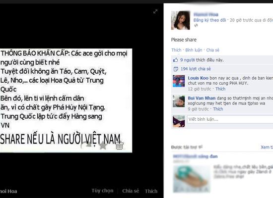 """Một số thành viên trên Facebook chia sẻ thông tin kèm theo lời nhắn: """"Nếu là người Việt Nam hãy share cảnh báo này"""" hoặc """"vì sức khỏe VN hãy share"""", khiến tin đồn ngày càng lan tỏa rộng rãi!"""