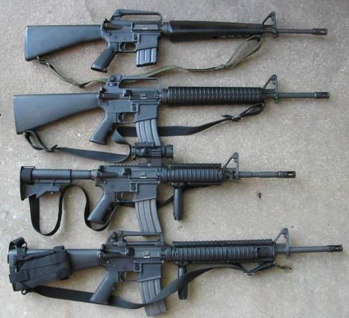 Các phiên bản của M-16 (từ trên xuống M16A1, M16A2, M4 Carbine, M16A4)
