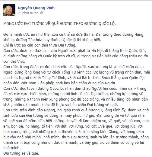 Đoạn trạng thái chia sẻ trên trang cá  nhân nhà văn Nguyễn Quang Vinh