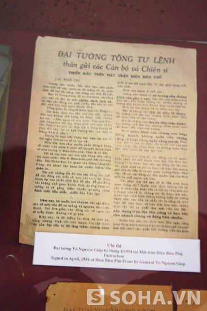 Chỉ thị Đại tướng Võ Nguyên Giáp ký tháng 4/1945 tại Mặt trận Điện Biên Phủ