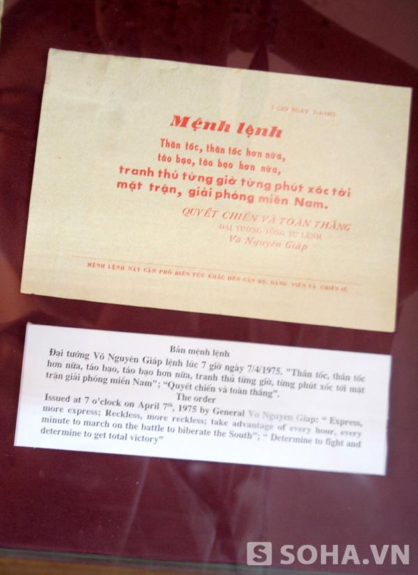 Bản mệnh lệnh. Đại tướng Võ Nguyên Giáp lệnh lúc 7 giờ ngày 7/4/1975: