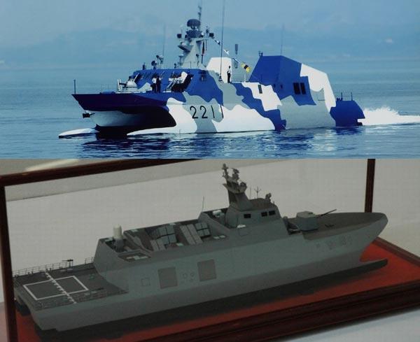Type-022 của Trung Quốc(ở trên) hoàn toàn lép vế khi so sánh với WPC của Đài Loan(ở dưới).