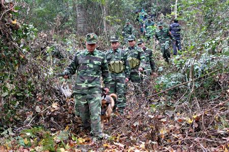 Bộ đội Biên phòng thực hiện tuần tra, có thể thấy rõ màu áo K-07 rất phù hợp với môi trường