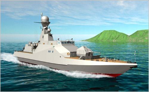Biến thể hiện đại hóa tàu tên lửa BPS-500 do viện thiết kế Severnoe (Nga) giới thiệu gần đây.