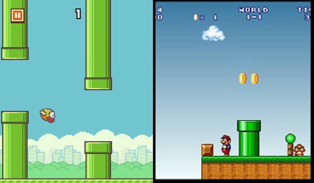 Ống khói xanh của Flappy Bird (trái) và ở game Mario của Nintendo (phải)