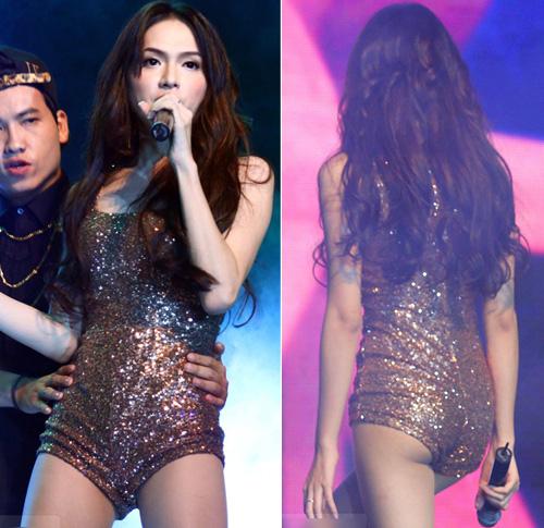 Đầu tháng 1/2014 vừa rồi, trên sân khấu Newhits, Hương Giang Idol đã gặp phải sự cố đáng xấu hổ vì chiếc quần quá ngắn.