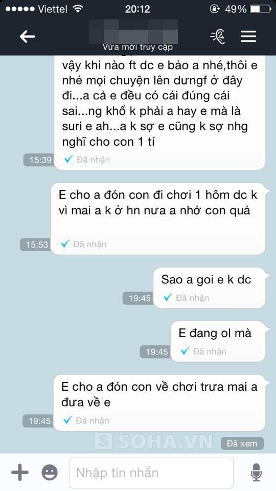 Theo Tùng,anh muốn liên lạc với vợ để đón con nhưng nhắn tin không được phản hồi.