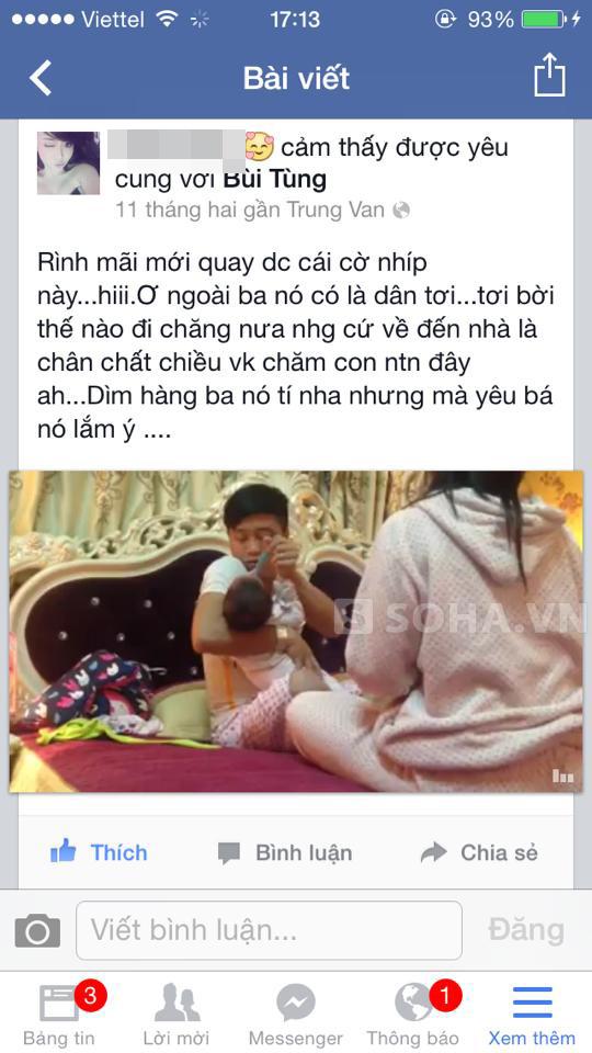 Ảnh chụp từ clip trên Facebook cá nhân của vợ Tùng.