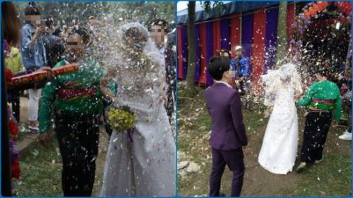 Cô dâu nhọ nhất năm: Tụt cả váy vì sợ pháo giấy - Ảnh 4.