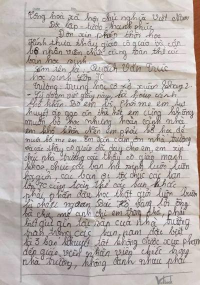 Lá đơn xin nghỉ học đẫm nước mắt của nam sinh lớp 7 - Ảnh 1.
