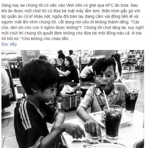 Tp Vinh: Hai bé ăn xin gầy gò và hành động không ngờ của thực khách ở quán gà