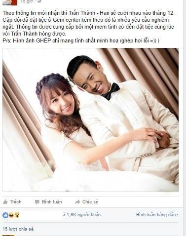 Rộ tin Trấn Thành và Hari Won đám cưới vào cuối tháng 12 - Ảnh 1.