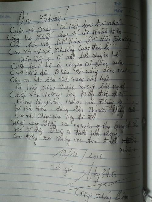 Ngày 20/11: Cụ bà Hà Nội gây sốt với bài thơ về thầy cô giáo cũ - Ảnh 1.