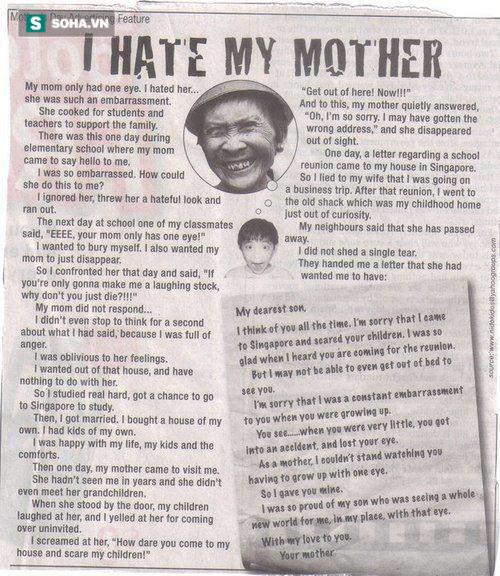Bức thư của người mẹ chột mắt khiến con trai day dứt cả đời - Ảnh 4.