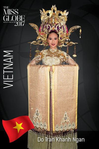 Cận cảnh trang phục dân tộc lộng lẫy của Khánh Ngân tại cuộc thi Hoa hậu Hoàn cầu 2017 - Ảnh 1.