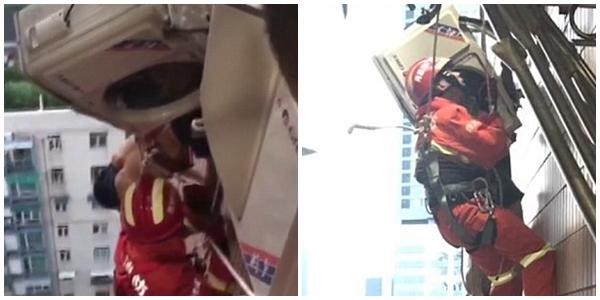 Clip: Ngã từ nóc nhà 22 tầng, chàng trai thoát chết nhờ mắc vào giá lắp cục nóng điều hòa - Ảnh 3.