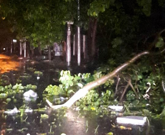 Hàng chục tàu cá chìm, đường sắt tê liệt, phố phường Hà Nội ngập sâu trong bão số 2 - Ảnh 13.