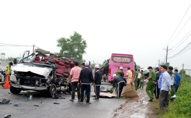 Hiện trường vụ tai nạn giao thông ở Tây Ninh.