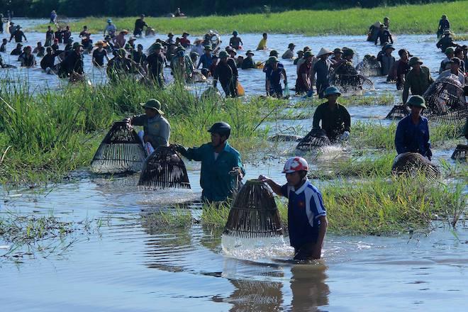 Cả làng hú lớn, tay nơm tay lưới ào xuống vực đánh cá Đồng Hoa - Ảnh 17.