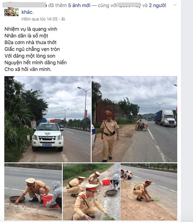 Tâm sự của CSGT nhặt tôm, cua giúp dân bị rơi vãi trên quốc lộ 1