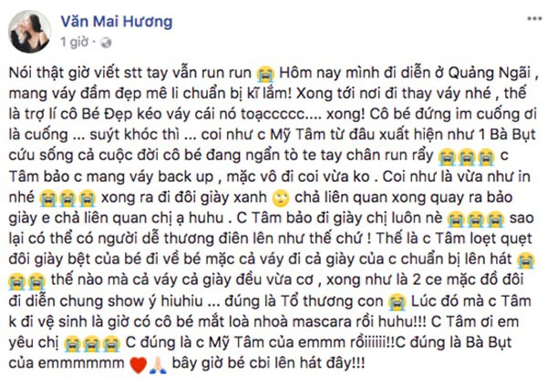 Hành động đẹp của Mỹ Tâm khi thấy Văn Mai Hương dính sự cố rách váy - Ảnh 1.