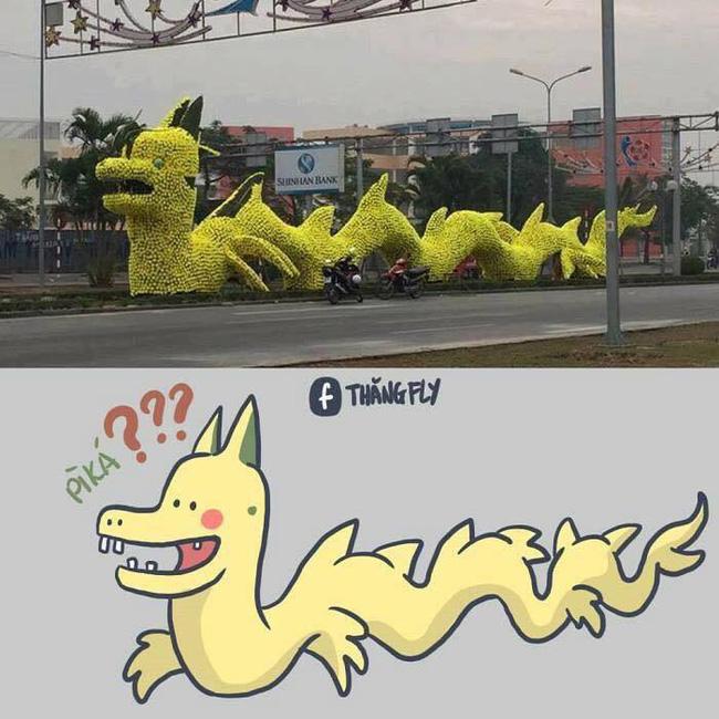 Con rồng vàng có hình thù kỳ lạ ở thành phố Hải Phòng khiến nhiều người khó hiểu - Ảnh 1.