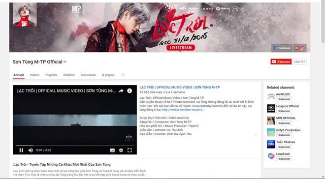 Vượt 1 triệu lượt theo dõi, Sơn Tùng nhận nút vàng YouTube - Ảnh 2.
