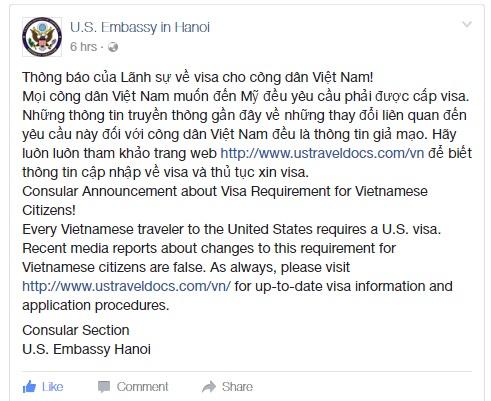 Đại sứ quán Mỹ cảnh báo thông tin giả mạo về miễn visa cho công dân Việt Nam - Ảnh 1.