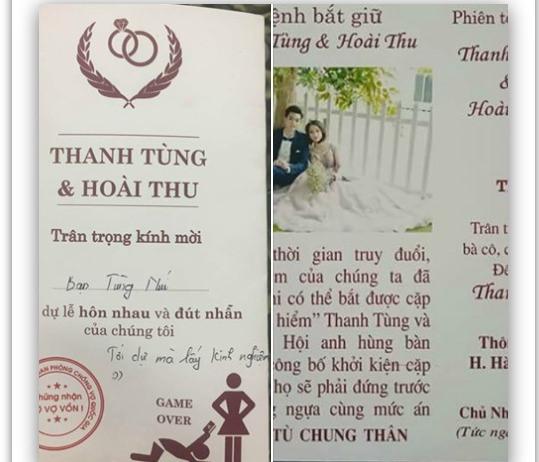 Thiệp cưới lệnh truy nã độc đáo của đôi trẻ Tuyên Quang - Ảnh 1.