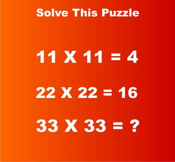 Nếu 11 x 11 = 4 và 22 x 22 = 16, vậy 33 x 33 = bao nhiêu? - Ảnh 1.
