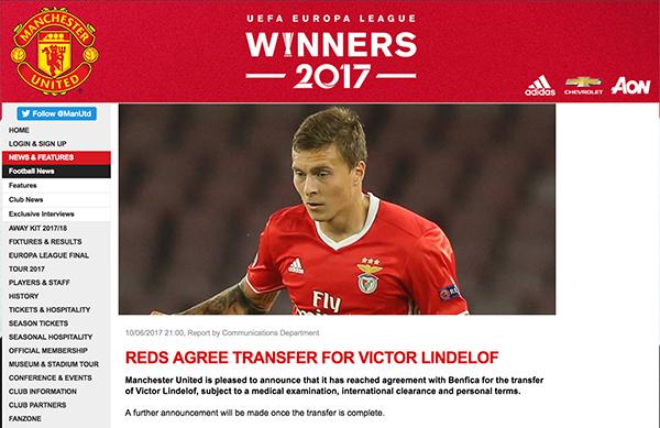 Chính thức: Man United xác nhận đạt thoả thuận chiêu mộ Victor Lindelof - Ảnh 1