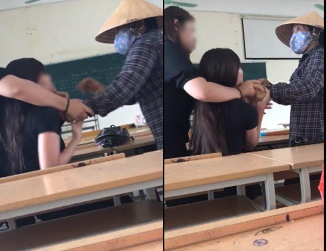 Clip: Phàn nàn về việc dép bị quét hất lên bục giảng, nữ sinh Nông Nghiệp bị cô lao công xông vào chửi bới, túm cổ áo - ảnh 2