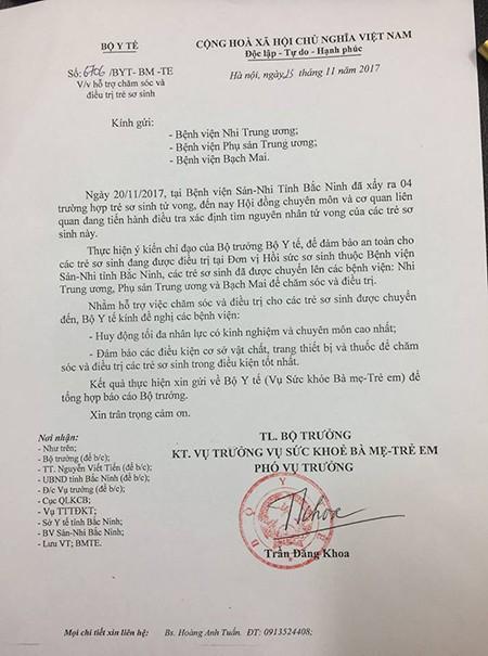 Bộ Y tế đề nghị chăm sóc tối đa cho trẻ sơ sinh chuyển lên từ Bắc Ninh - Ảnh 1.