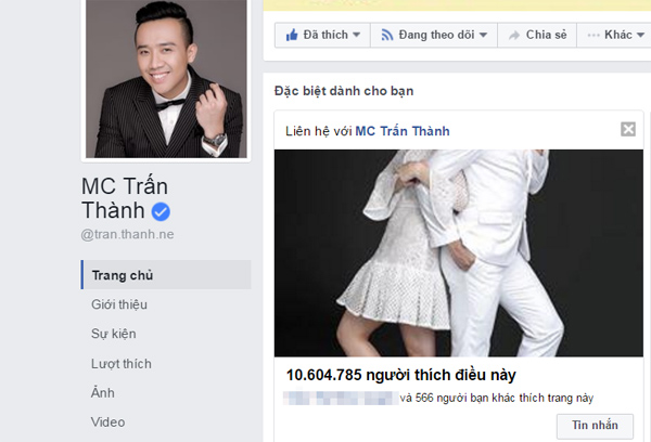 Sau đám cưới, fanpage của Trấn Thành bất ngờ vươn lên dẫn đầu tại Việt Nam - Ảnh 1.